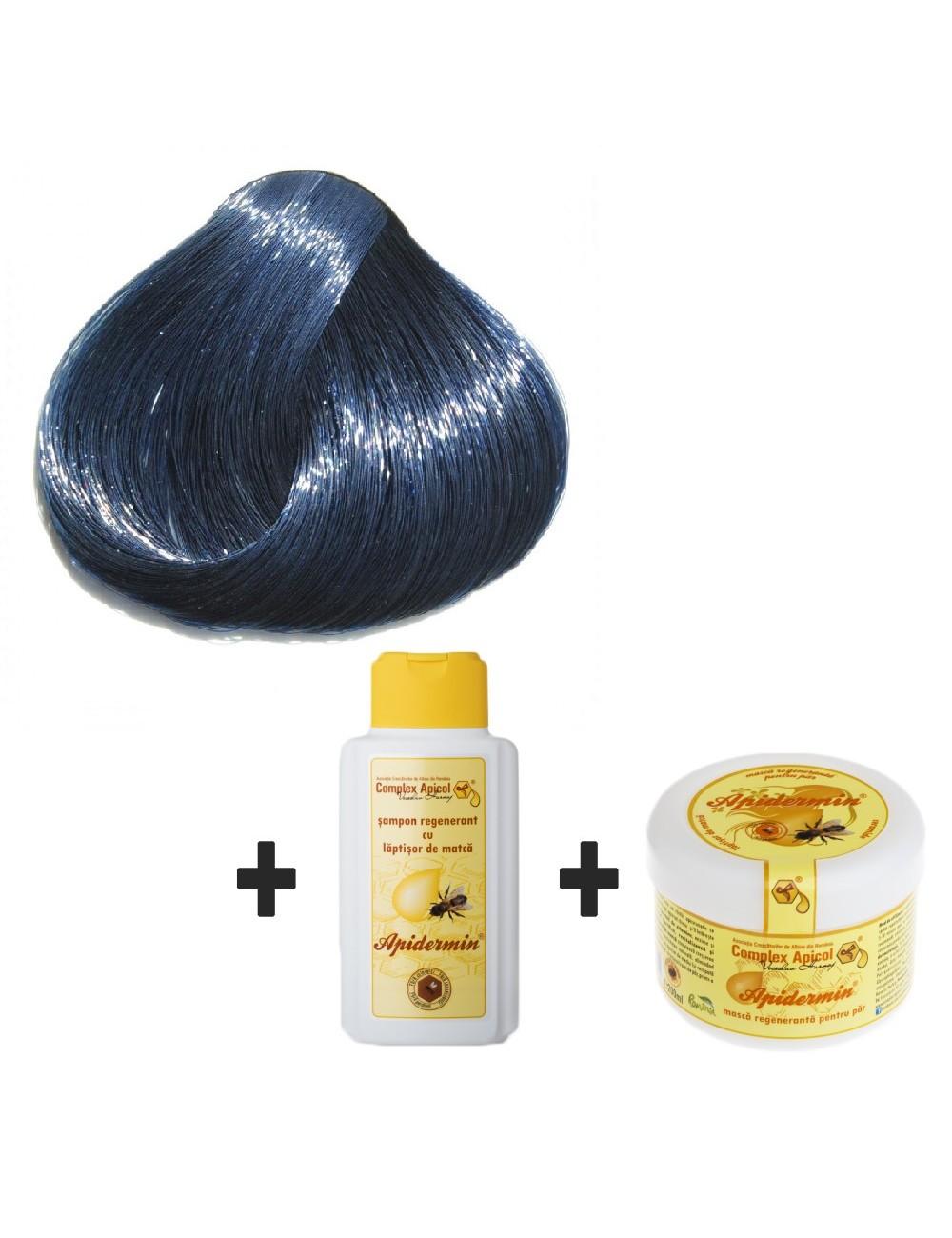 Set Herbul Henna Negru Albăstrui + şampon şi mască regenerantă pentru păr